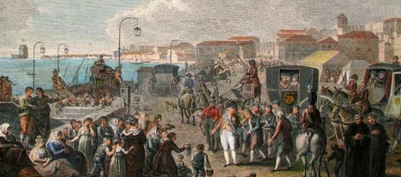 La familia real portuguesa huyendo al brasil tras la invasión de 1807 de Portugal