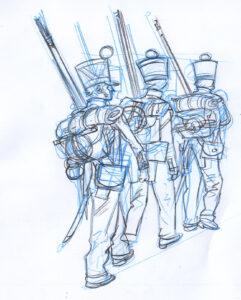 boceto soldados
